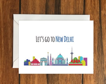 Let's Go To New Delhi Blank greeting card, Holiday Card, Gift Idea A6