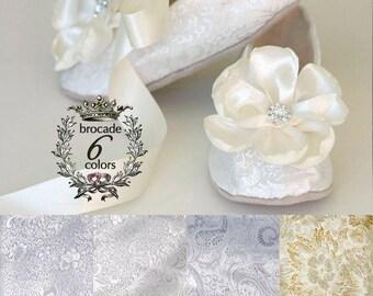 Ivory Brocade Toddler Flower Girl Shoe - Flower Girl, Wedding Ballet Slipper -  Ivory, Gold, Silver, White Available - Baby Souls Baby Shoes