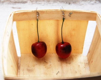 Charming Red Cherry Earrings on Green Stem // Adorable Quirky Gift for Her // Birthday Holiday Party // Statement Piece // Fashion