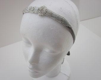 The Great Gatsby Headband 1920s Flapper Headband Silver Bridal Wedding Fascinator Gray OR Black Velvet Ribbon