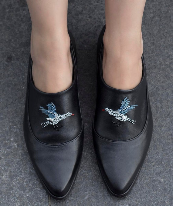 Flat Black Made Shoes Shoes Comfortable Women Embroidered Shoes Shoes Leather Custom Shoes Flat Leather Black On Flat Slip Shoe CnFCOxv