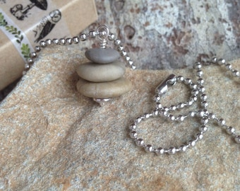 Petite Beach Rock Cairn Necklace, Go Climb A Rock