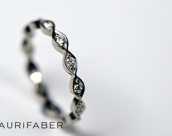 Stackable white gold eternity band. Palladium white gold engagement ring. Multistone gold ring. Delicate diamond ring. Unique wedding ring.