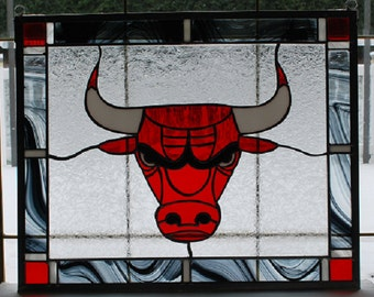 Stained glass red bull panel