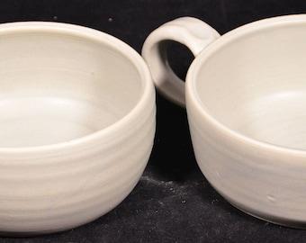 light buff grey soup bowls - set of 2