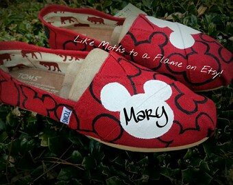 Mickey Mouse Toms, Disney Toms, Custom Toms, Disney Vacation Shoes, Hand Painted Toms, Disneyland, Disney World, Souvenir Shoes