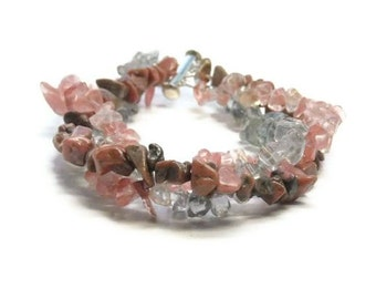 Stacked Gemstone Bracelet, Triple Strand Mixed Gemstone Bracelet, Rhodonite, Strawberry and Gray Quartz, Boho, Chunky, Braided, Stacking