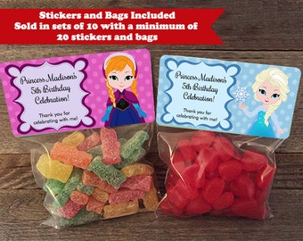 Frozen Stickers and Treat Bags, Frozen Birthday Favors, Princess Elsa Stickers, Princess Anna Stickers, Frozen Party Favor Bags, F