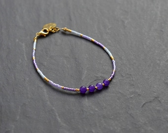 Fine miyuki and agate bracelet purple, lilac, gold tone
