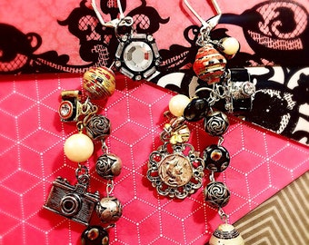 Camera and Cameo Dangle Earrings • Dangle Cluster Earrings with Vintage Camera and Cameo Charms and Pearls