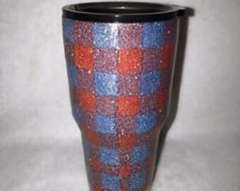 Plaid Glitter Tumbler Cup