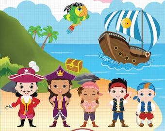 Pirate Digital Clipart, Jake Clipart, Neverland Clipart, Pirate Clipart, Pirate Clip Art, Jake Neverland Clipart, Pirate party