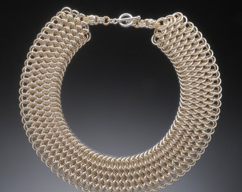 Dragonscale Collar in sterling & gold-fill