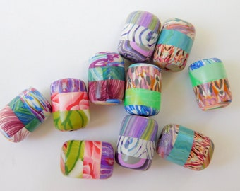 Colorful Handmade Polymer Clay Beads, unique patterns, set of 10