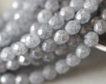 8mm, (25) Winter Skies, Grey, Granite, Ice, Faceted, Round, Czech, Glass, Beads, Fire Polished, Strand