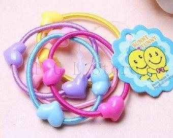 Hearts, multicolored hair elastics