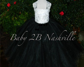 Flower Girl Dress in Ivory  Satin Rosette and Black  Flower Girl Dress Wedding Flower Girl Dress All Sizes  Baby to Girls 10