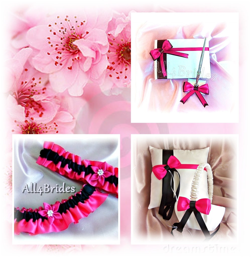 Fuchsia Pink and Black wedding ring pillow flower girl
