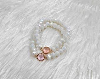 Beaded Bracelet | Gemstone Bracelet | Charm Bracelet | White Bracelet | Crystal Bracelet | Bridesmaid Jewelry | Gift For Her