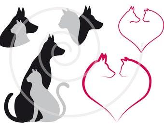 Cat and dog digital clip art set, pet, animal clipart, heart, illustration, drawing, logo design, vector, EPS, SVG files, instant download
