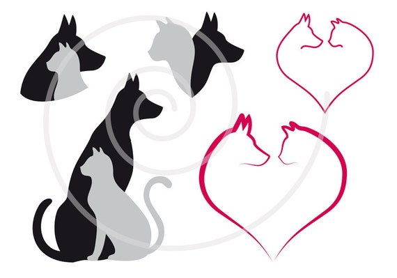 cat and dog digital clip art set pet animal clipart heart rh etsy com dog and cat clipart black and white free dog and cat clipart images