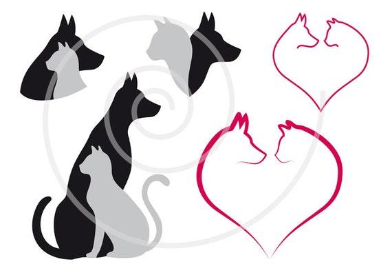 Cat and dog digital clip art set pet animal clipart heart
