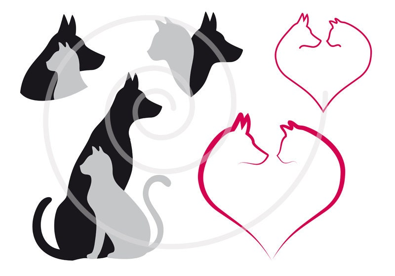 cat and dog digital clip art set pet animal clipart heart rh etsy com dog and cat clip art black and white dog and cat clipart free