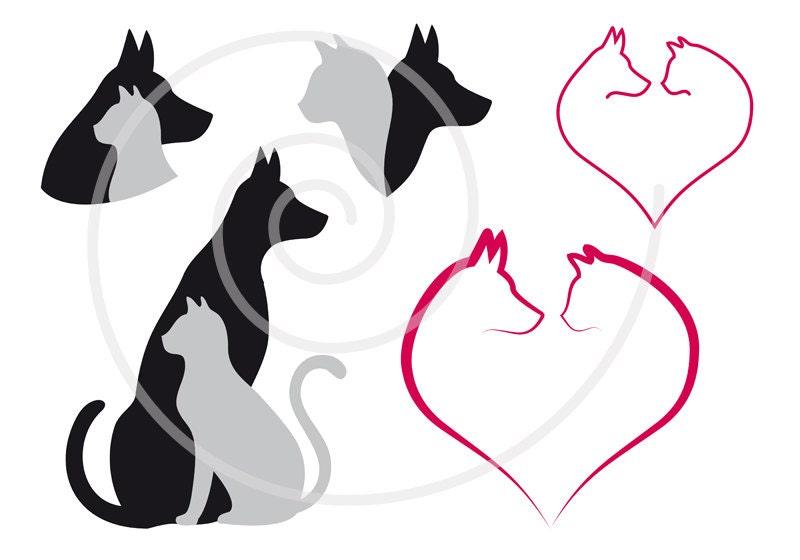 cat and dog digital clip art set pet animal clipart heart rh etsy com cat and dog christmas clipart cute cat and dog clipart