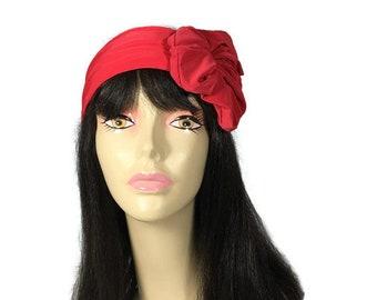 Red Flower Headband Red Flower Head Wrap Swim Head Wraps Lycra Headband Flower Turban Head Wrap Red Turban Headband CUSTOM SIZE/Color
