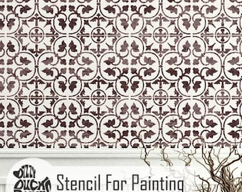 ZAMORA TILE STENCIL - Mediterranean Spanish Moroccan Wall Furniture Craft Floor Stencil for Painting - ZAMO01
