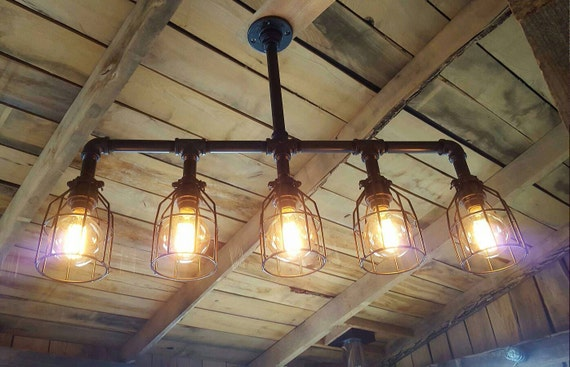 pendant cage reclaimed industrial urban rustic modern light chandy chandelier