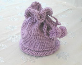 Baby 3-6 month purple wool hat