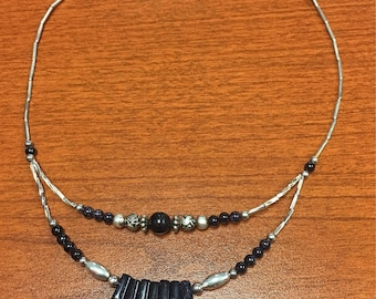 Silver and Blue Goldstone Necklace