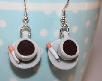 Cup of Coffee Earrings - Coffee Earrings - Kawaii Earrings - Cigarette and Coffee Jewelry