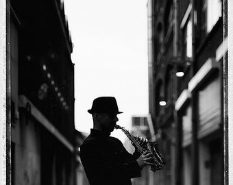 Saxophone Player, Musician, Fine Art Photography, Black And White, Dublin, Limited Edition, Collectible, Polaroid, Jazz, Sax, Silhouette