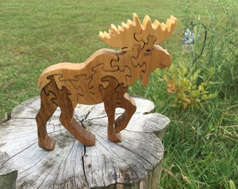 Wood Puzzle Moose Wood Puzzle Animal Puzzle Zoo Animal Kids Puzzle Wooden Toy Wood Toy Baby Puzzle Baby Shower Gift Nursery Gift
