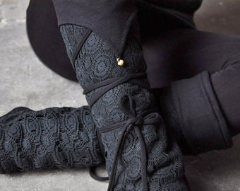 Warmly Lined Leg Warmers, Boot Cuffs ~ with Lacing and Brass Bells ~ Fleece ~ black