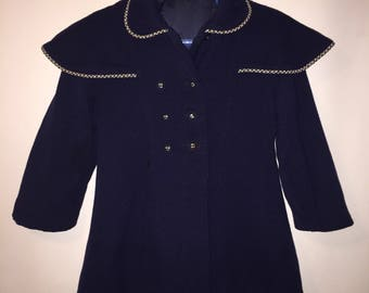 Vintage 1940s 1950s Navy Blue Girls Toddler Wool Winter Coat Jacket Formal  Very Nice