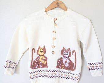 vintage cats cream knit cardigan sweater childrens
