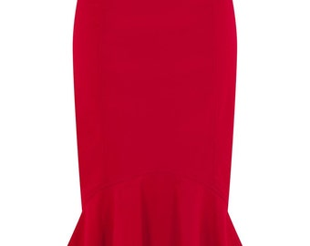 Vintage 50s Style Winifred Red Fishtail Skirt Pin Up Rockabilly