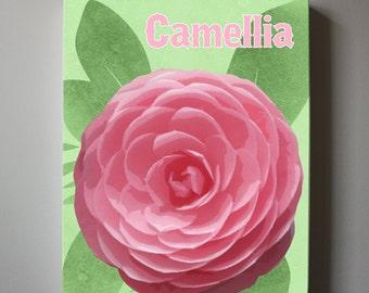 Pink Floral Canvas wall art - Flower canvas art, Baby Nursery Floral nursery art, Girls Room Decor16x 20