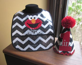 FIRST BIRTHDAY SET Birthday Hat and Matching Bib Elmo with Name Embroidered