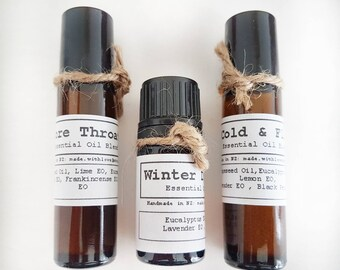 Essential Winter Oil Pack, Winter Diffuser Oil, Sore Throat Roll On, Cold & Flu Roll On