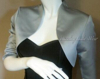 Silver/Grey Satin Bolero / Shrug / Cropped Jacket Fully Lined - UK 4-26/US 1-22 3/4 Sleeves - Formal/Wedding/Bridal