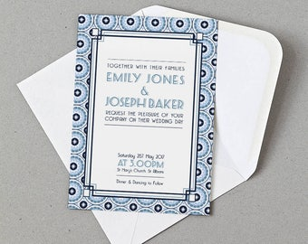 Retro Wedding Invite, RSVP, Information card Personalised