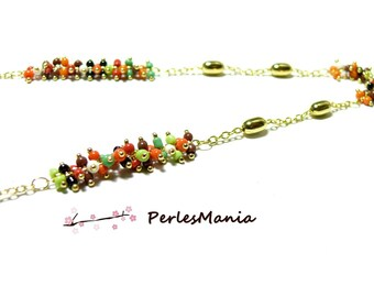 20 cm brass chain gold and glass beads, seed bead multicolored grape ref 32