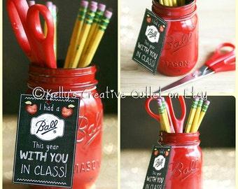 Teacher Gift - Teacher Mason Jar - Teacher Appreciation Gift - Pencil Holder - Red - Office Decor - Teacher Present - Gift For Teacher