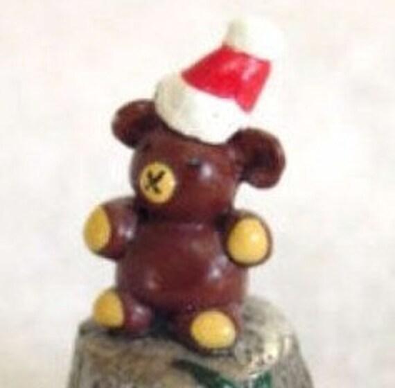 English Hand Painted Pewter Christmas Santa Bear Thimble - Vintage Artist Signed