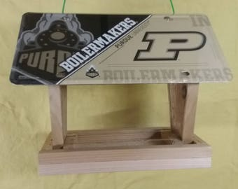 Purdue University Boilermakers diagonal license plate bird feeder