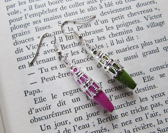 Earrings asymmetrical green and pink - Cup silver metal, pearls stems